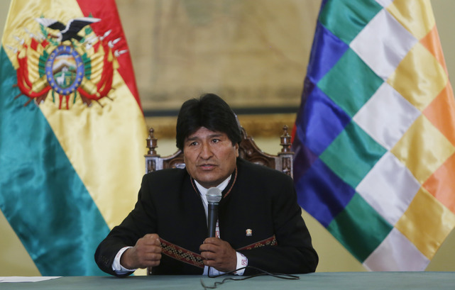 Bolivia's President Evo Morales speaks during a press conference at the government palace in La Paz, Bolivia, February 2016