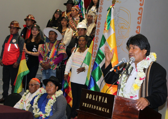 Bolivian President Evo Morales Ayma delivers a speech during the inauguration of the new government palace