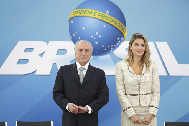 Brazil's President Michel Temer and wife Marcela, take part in a ceremony at the Planalto Presidential Palace, in Brasilia, Brazil, 7 December 2016