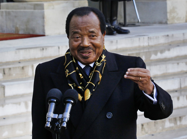 Cameroon's President Paul Biya addresses reporters following his meeting with French President Francois Hollande in January 2013