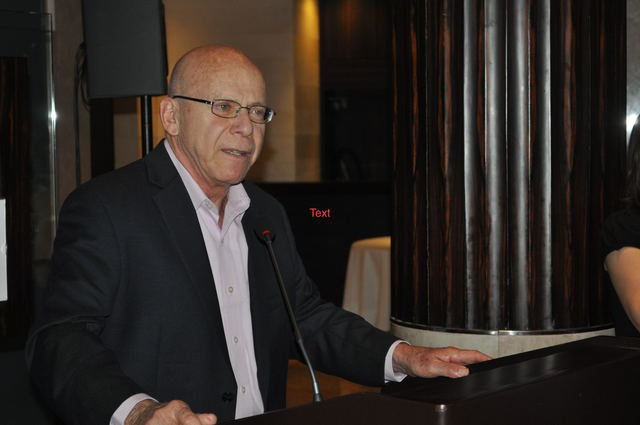 Arnold Amber speaking at a Canadian Embassy reception in Beirut Lebanon during 2011 IFEX General Meeting