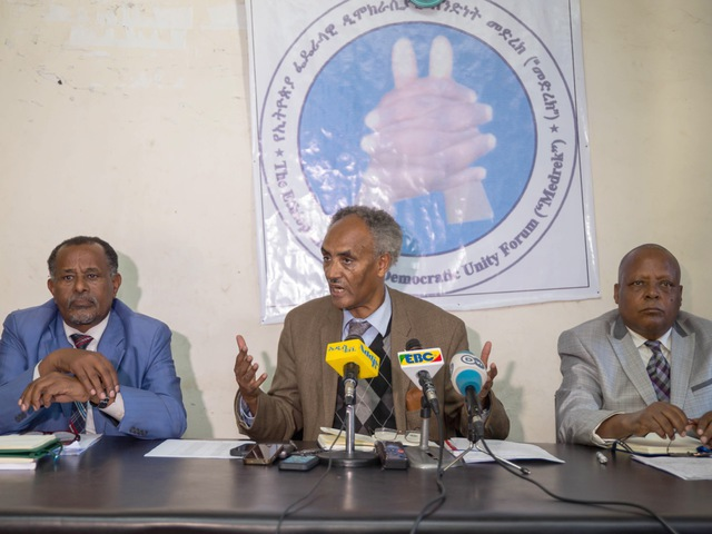 Representatives of the Ethiopian Federal Democratic Unity Forum, a coalition of four opposition parties, during a press conference in Addis Ababa, 23 December 2015; at the time the coalition blamed the government for the killing of more than 80 protesters and called for a criminal investigation