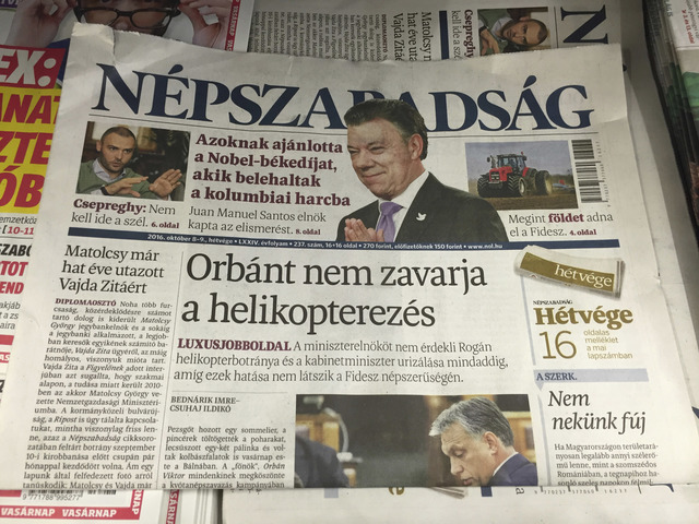 A newsstand including Saturday papers with Nepszabadsag daily is pictured in Budapest, 8 October 2016