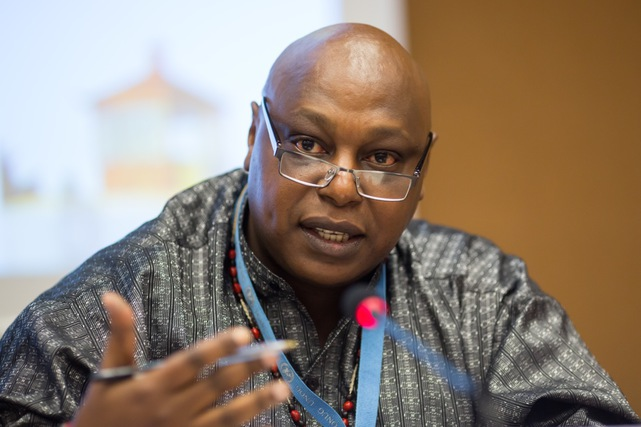 Special Rapporteur Maina Kiai makes introductory remarks during the