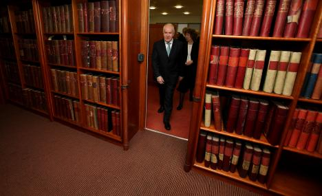 Heritage Minister Jimmy Deenihan arrives at the launch of an online selection of digital documents, in the National Archives, Dublin.