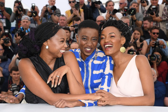 (L-R) Director Wanuri Kahiu, actresses Samantha Mugatsia and Sheila Munyiva attend the photocall for 'Rafiki' during the 71st annual Cannes Film Festival in Cannes, France, 9 May 2018