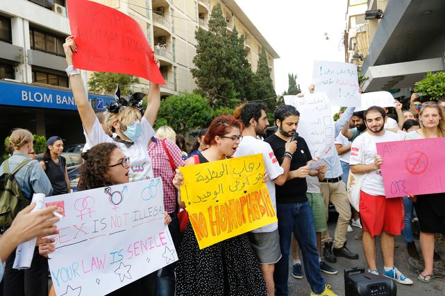 Lgbtqi+ activists protest the arrest of transexual woman and demand  abolishment of article 534 of the Lebanese Penal code, which prohibits having sexual relations that 'contradict the laws of nature', Beirut, Lebanon, 2016