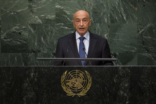 Libya's acting head of state Agila Saleh Essa Gwaider addresses attendees during the 70th session of the United Nations General Assembly at the U.N. Headquarters in New York, September 30, 2015.