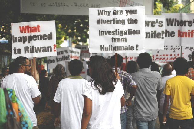 Protestors demand investigation into the disappearance of missing reporter Ahmed Rilwan Abdulla, 19 September 2014