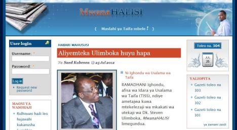 A screenshot of <em>MwanaHalisi</em>'s website. The newspaper has been banned since 2012.