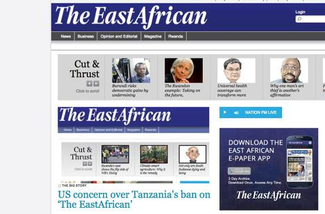 The home page of The East African's website, whose print version has been banned from circulation in Tanzania.