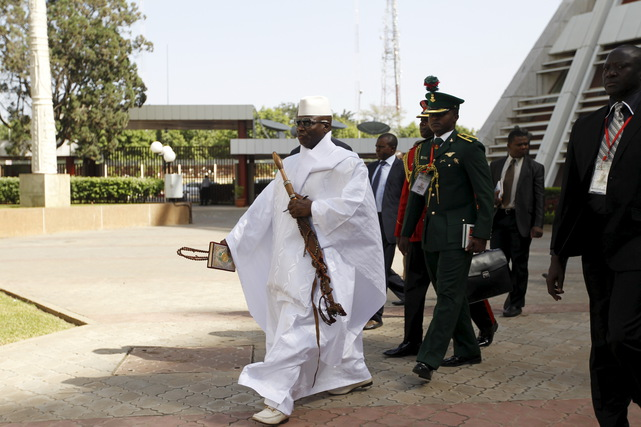 Gambia's President Yahya Jammeh arrives to the opening of the 48th ordinary session of ECOWAS Authority of Head of States and Government in Abuja, Nigeria, 16 December 2015