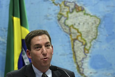 Glenn Greenwald testifies before a Brazilian Congressional committee on the NSA's surveillance programs, in August 2013