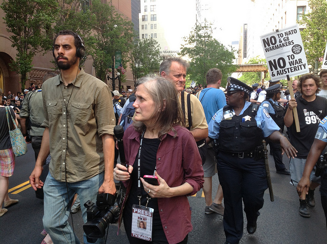Amy Goodman at a G8 protest in 2012