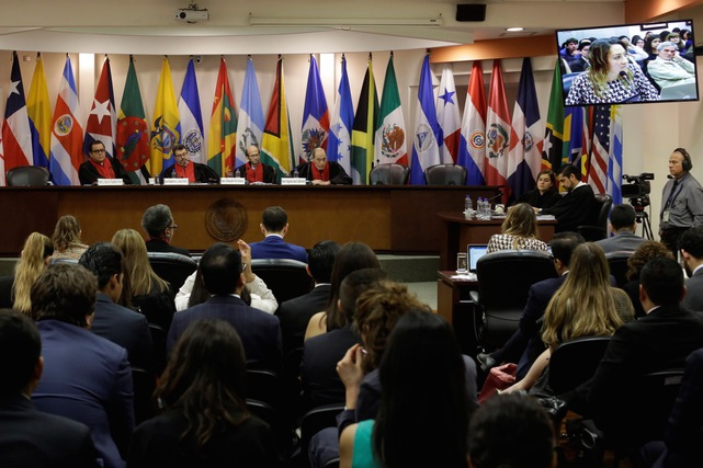 Judges of the Inter-American Court of Human Rights attend a hearing in San José, Costa Rica, 27 April 2018