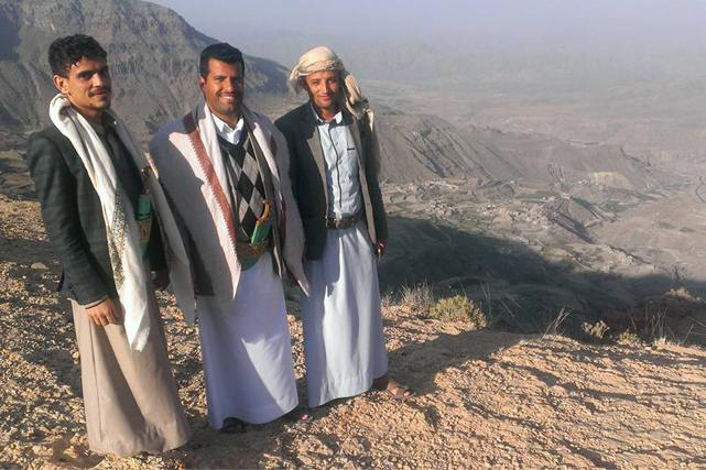 Yemeni journalist Almigdad Mojalli (Center) posted this picture of himself with friends in Yemen on Facebook two days before he was killed