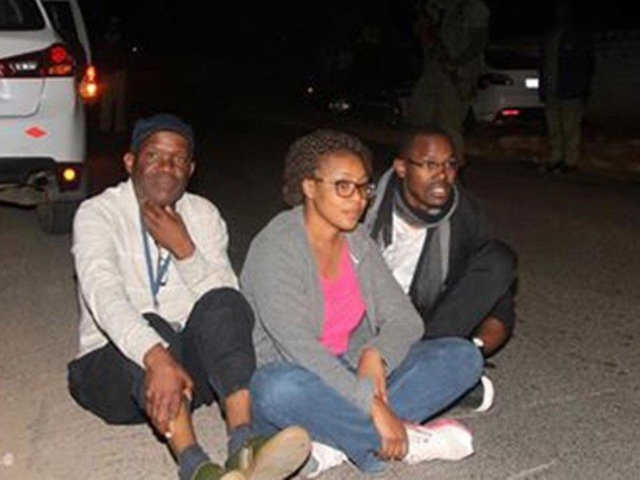 The Post Editor-in-Chief, Fred M'membe (left), his wife Mutinta and Post Deputy Managing Editor, Joseph Mwenda, pictured shortly before they were arrested and taken to the Lusaka Central Police Station on 21 June 2016